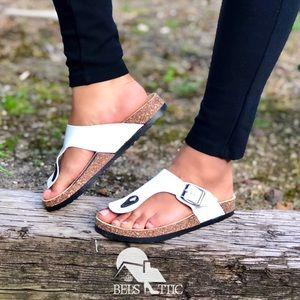 White Thong Buckle Footbed Sandals